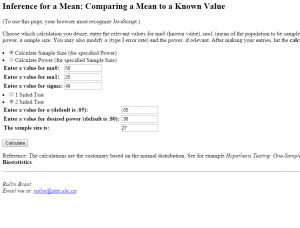 EdSite - Sample Size Calculator (UBC)